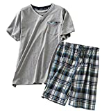 ENJOYNIGHT Men's Summer Short Sleeve Pajamas Adult Casual Shorts & Shirt PJ Set (Medium, V Gray)