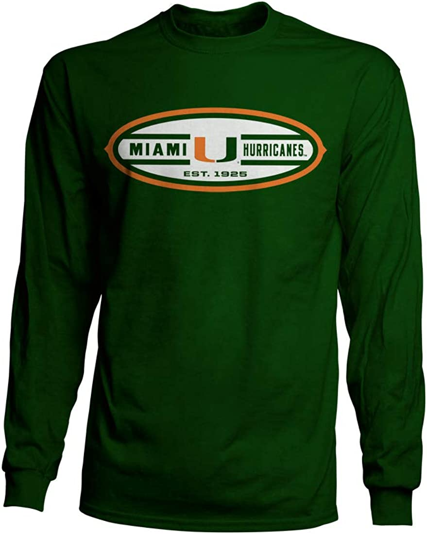 Top of the World Miami Hurricanes Official NCAA Green Small Long Sleeve Tee Basic Shirt 221453