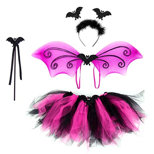 BESTOYARD Bat Costumes Set Headband Wand Tutu Dress