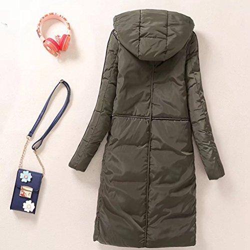 Jacket Hooded Winter Zipper Army Pockets Parka Warm Ladies Anguang Women Long Green Coats qfUE88