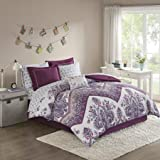 Easily Transform Your Bedroom into The Perfect Abode with Vivid,Ultrasoft,Gorgeous and Elegant Home Essence Apartment Allura 9 pcs Bed in a Bag Comforter Bedding Set,Purple,Queen