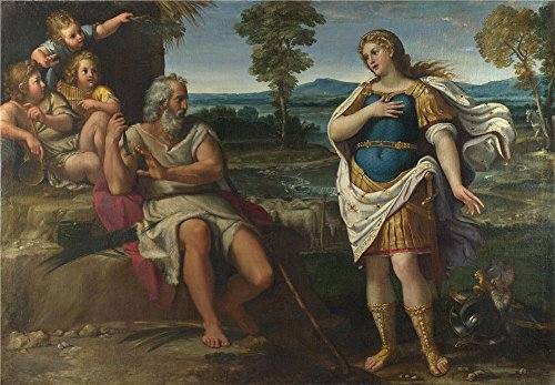 The Polyster Canvas Of Oil Painting 'Circle Of Annibale Carracci Erminia Takes Refuge With The Shepherds ' ,size: 10 X 14 Inch / 25 X 37 Cm ,this Cheap But (King Diamond Halloween Sub)