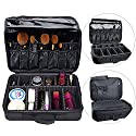 AUGYMER Travel Makeup Bag, Multifunctional 3 Layer Train Professional 13.4inch Makeup Bag Cosmetic Case Make Up Bags Organizer Kit Set with Carry Handle for Travel & Home