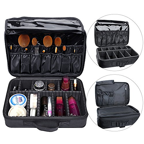 AUGYMER Travel Makeup Bag, Multifunctional 3 Layer Train Professional 13.4inch Makeup Bag Cosmetic Case Make Up Bags Organizer Kit Set with Carry Handle for Travel & Home (Cosmetic Bag Set Of 3)