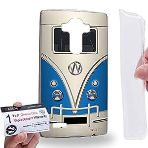 Case88 [LG G4] Gel TPU Carcasa/Funda & Tarjeta de garantía - Art Fashion Blue Retro Bus Mini Van Art1200