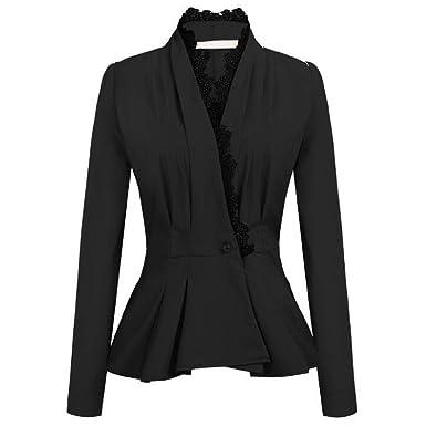 Dtuta Veste Courte /à Manches Longues Costume Couture De Dentelle Noire Veste en Cuir Coupe Slim