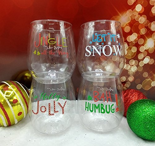 4-pack Wine-Oh! Designer BPA Free Plastic Shatterproof Wine Glass (HOLLY JOLLY)