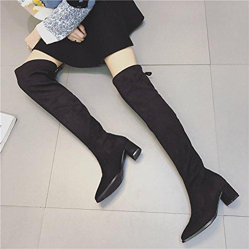 ZHZNVX Arranque con estilo negrita volcar la rodilla botas rojas de tacón alto explosivo, botas largas botas único black