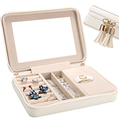 LE PAPILLION JEWELRY Jewelry Box Faux Leather Travel Jewelry Box Organizer | Elegant Outlook Display Storage Case with Large Mirror | Jewelry Box Gift for Women, Great Gift Idea(White)