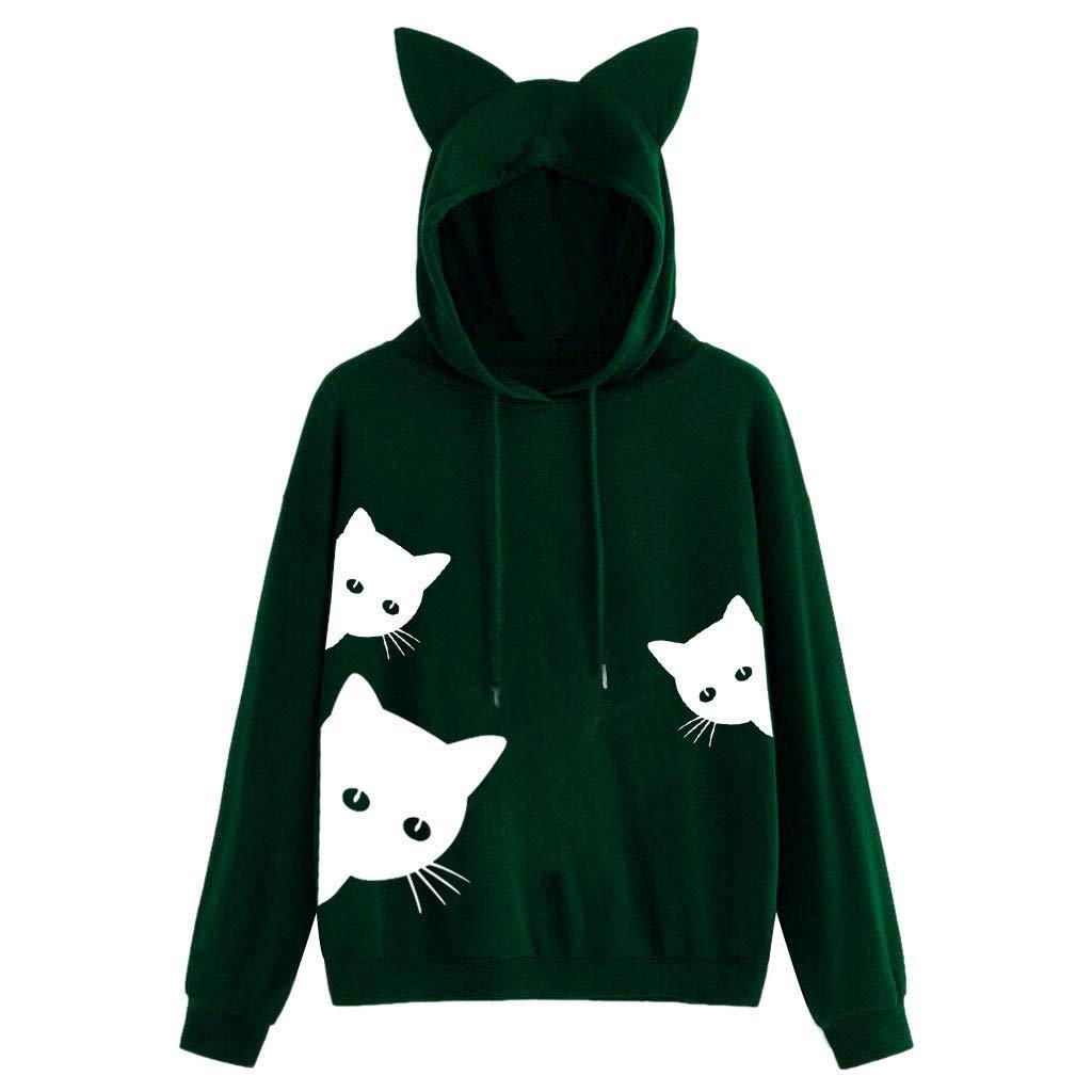 ✪COOLGIRLS✪~Clothing Womens Cat Print Long Sleeve Hoodie Sweatshirt Hooded Pullover Tops Blouse Green by ✪COOLGIRLS✪~Clothing