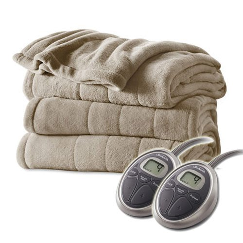 Sunbeam Channeled Velvet Plush Electric Heated Blanket Queen Sand Tan