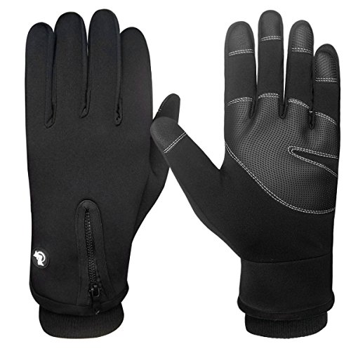 Lined Neoprene Gloves (LETHMIK Mens Windproof Touchscreen Gloves Winter Outdoor Cycling Motorcycle Ski Glove Black-XL)
