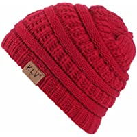 Beanie Hat for Boys and Girls, KLV Winter Trendy Warm Hats Knit Slouchy Thick Skull Cap