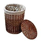 Laundry Storage Baskets with Lid Hamper Handmade Woven Wicker&cattail Round Closet Organizer (Set of 2, Brown) (Large, Brown)