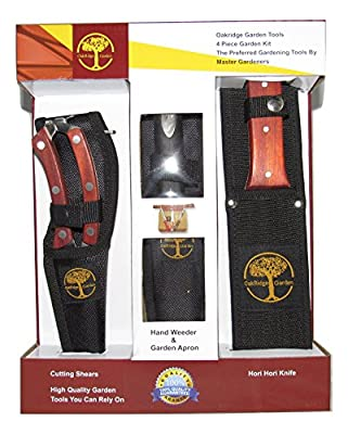 4-piece Top Quality Gardening Tool Set - Oakridge Gardens Hori Hori Knife, Cutting Shears, Hand Weeder and Apron All with Nylon Sheaths - Perfect Gift for Gardener - Lifetime Warranty