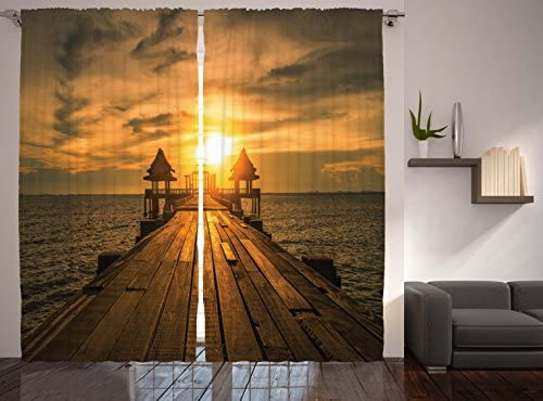 Ambesonne Scenery Decor Curtains, Wooden Dock Bangkok Bay Morning Lights Sunshine and Ocean Picture Print, Window Drapes 2 Panel Set for Living Room Bedroom, 108W X 84L Inches