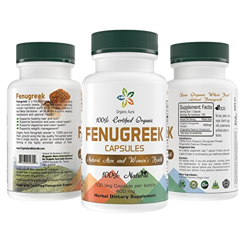 Certified Organic Fenugreek Capsules. Easy Swallow Veg Capsules. Raw Whole Superfood. 100% All Natural, Fresh and Original. No GMO and Gluten Free.