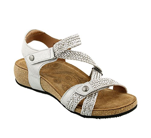 Cork Sole Sandals - Taos Women's Trulie, Silver 38 EU/7-7.5 M US