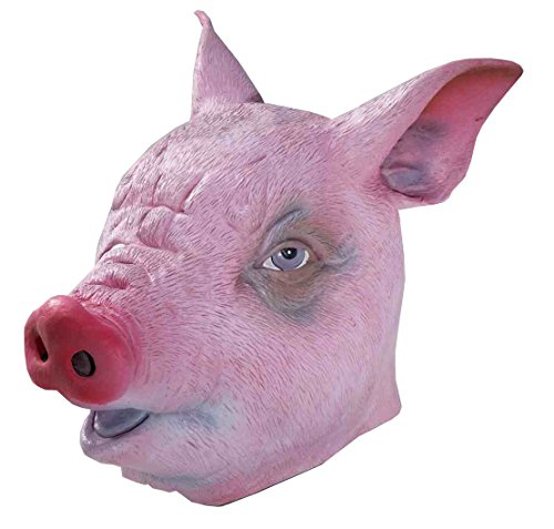 Adult Deluxe Pig Mask (Forum Novelties Men's Deluxe Latex Pig Mask, Pink, One Size)