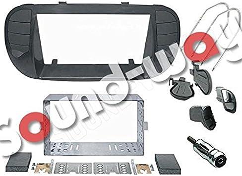 color negro brillante Tabla Soporte con boquillas de aire Kit de montaje para radio 2 DIN para FIAT 500