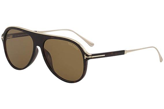 7c616e813faf0 Image Unavailable. Image not available for. Color  Tom Ford FT0624 52E Dark  Havana Nicholai Pilot Sunglasses ...