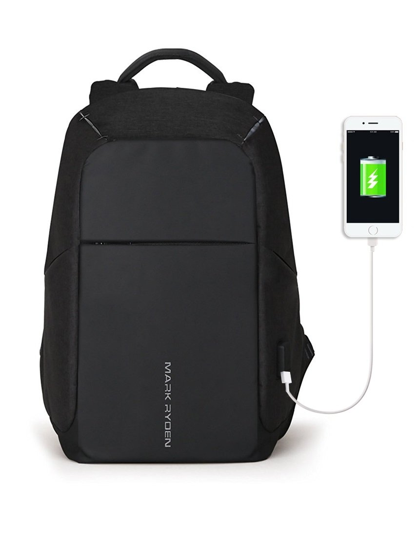 Markryden Anti-theft Laptop Backpack  Business Bags with USB Charging Port School Travel Pack Fits Under 15.6 Inch Laptop (Black 2.1)