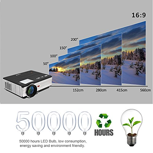 Android WiFi Projector 3500 Lumen- Support 1080P Full HD WiFi Airplay Miracast- LCD Multimedia LED Home Theater Movie Video Game- HDMI USB SD VGA Built-in Speaker by EUG (Image #5)