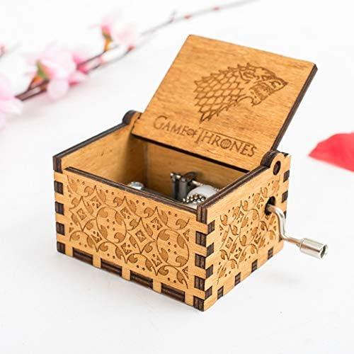 HLZK Gioco di troni Music Box in Legno Antico Intagliato a Mano in Legno Scatole a manovella Musicale Miglior Regalo per Il Compleanno di Natale