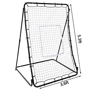 YUEBO Baseball Softball Rebounder Adjustable Multi-Sport Pitchback Net