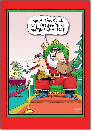 Nice Stationery - 12 'Santa Tips Nice List' Boxed Christmas Cards w/Envelopes (4.75 x 6.625 Inch), Hilarious Santa Claus Cartoon Holiday Notes, Funny Naughty and Nice List Christmas Cards, Christmas Stationery B1876