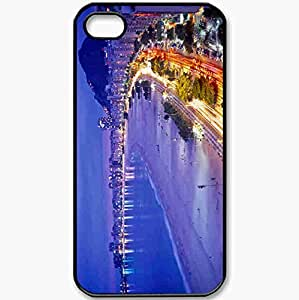 Protective Case Back Cover For iPhone 4 4S Case Night Evening Lights Road Bay Beach Black wangjiang maoyi