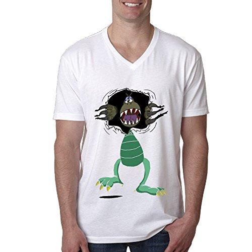Youth V-neck T-shirt Green Dinosaur XX-Large Short Sleeve White