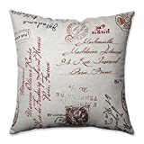 Pillow Perfect Linen/Red French Postale 18-Inch Throw Pillow
