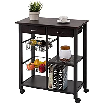 Nice Costzon Rolling Kitchen Cart, Storage Trolley W/ 2 Drawers Baskets Stand  Countertop Table