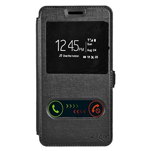 Alcatel One Touch Fierce XL Case, Balaji Folio Flip Leather Case Cover For Alcatel One Touch Fierce XL, Black