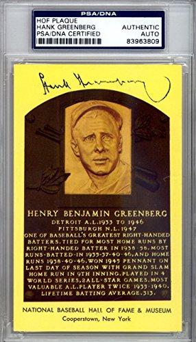 Hank Greenberg Autographed Signed HOF Plaque Postcard Tigers #83963809 PSA/DNA Certified MLB Cut Signatures