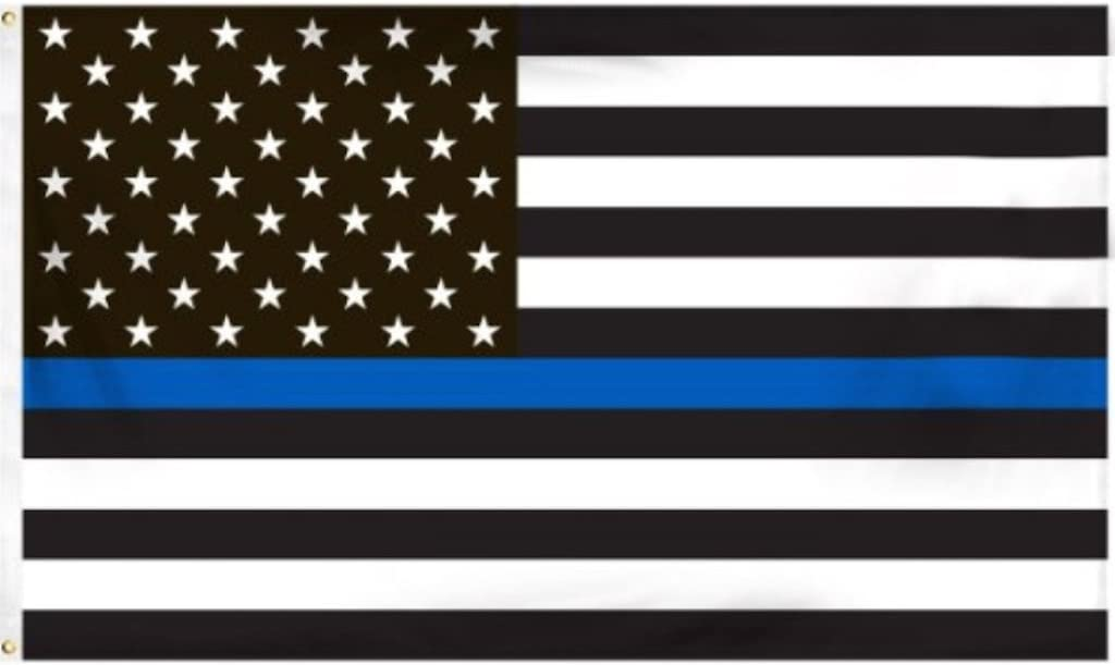Amazon Com Thin Blue Line American Flag 3 By 5 Foot Flag Honoring Our Men And Women Of Law Enforcement Black White And Blue With Brass Grommets Garden Outdoor