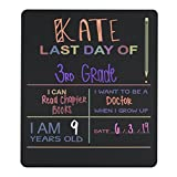 "Custom Product Solutions Reusable Last Day of School Chalkboard Sign. Photo Prop Board, Black w/Color Print - 12"" x 10"" Rectangle"