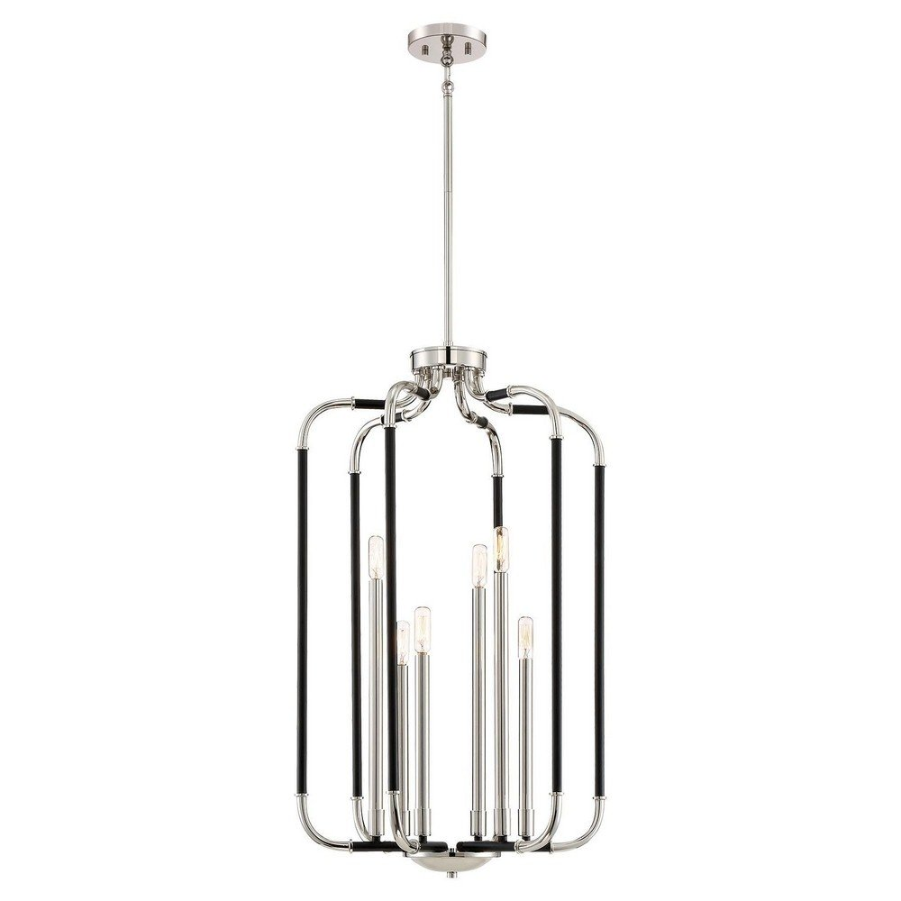 Minka Lavery Minka 4067-572 Contemporary Modern Six Light Foyer Pendant from Liege Collection in Two-Tonefinish