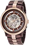 Kenneth Cole New York Men's KC9031 Automatic Brown Ion-Plating Rose Gold Transparent Clear Dial Watch