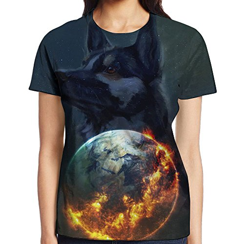 Oiedrt Apocalyptic Earth Art Womens Simple Casual Plain T-Shirts Blouse Tops Blouse Shirts For Teenagers
