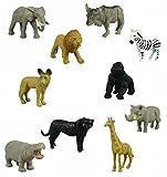 12 Small Safari Animals Jackal Giraffe Elephant Antelope Gnu Zebra Panther Warthog Lion Gorilla Hippopotamus Rhinoceros Wildlife Zoo Set of Wild African Figure Plastic Playset Toys
