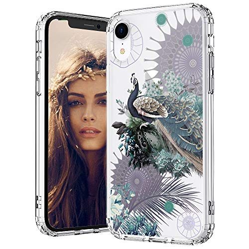 (MOSNOVO iPhone XR Case, Peacock Pattern Printed Clear Design Transparent Plastic Back Case with TPU Bumper Protective Case Cover for iPhone XR)