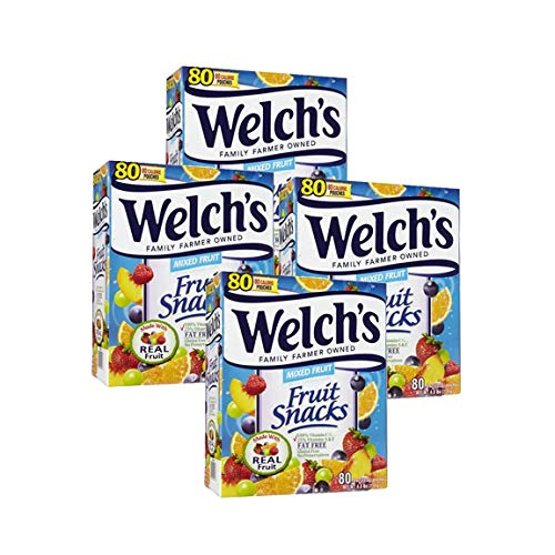 Welch's Fruit Snacks, Mixed Fruit - 80 pouches, 0.9 oz each (Pack of 4)