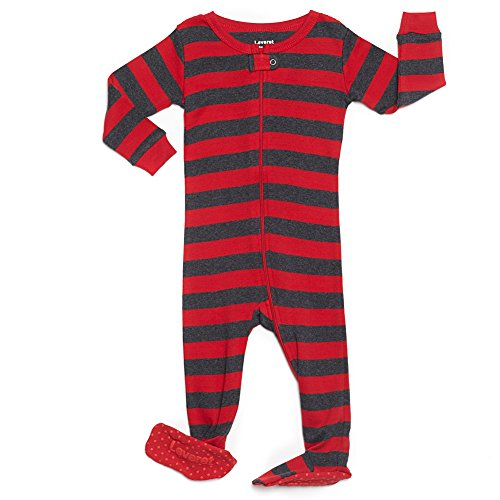 Leveret Striped Footed Pajama Sleeper 100% Cotton (4 Years, Red & Grey)