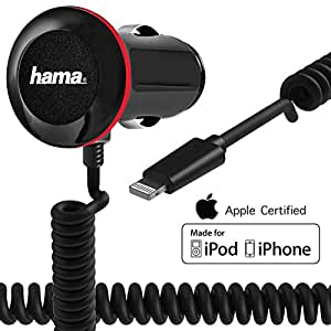 Hama Car Charger with Integrated Apple MFi Certified Lightning Coiled Cable for iPhone 6s / 6s Plus / 6 / 6 Plus / 5s / 5, iPod and more