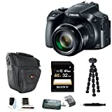 Canon PowerShot SX60 HS 16.1MP Digital Camera with 65x Optical Zoom and Built-in WiFi/ NFC + 32GB Accessory Bundle