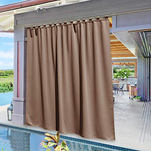 NICETOWN Outdoor Curtain Panel for Patio - Vertical Blinds Thermal Insulated Tab Top Blackout Slider Drape for Outside Pavilion/Lounge/Balcony/Lounge (Tan, Single Panel, 100