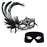 Simone Deluxe Peacock-Verona Masquerade Masks for a Couple
