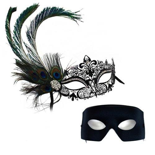 Success Creations Simone Deluxe Peacock-Verona Masquerade Masks for a Couple -